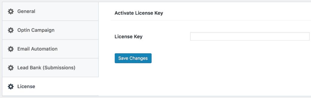 MailOptin license settings