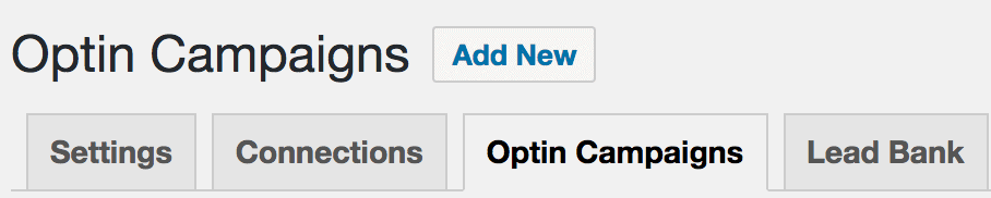 Optin Campaigns menu link