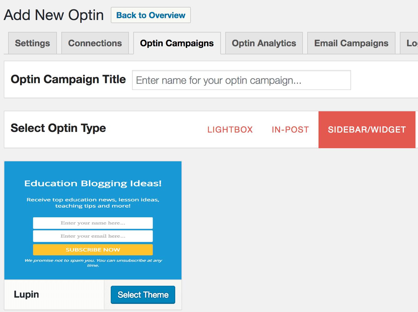Create sidebar widget optin form in WordPress