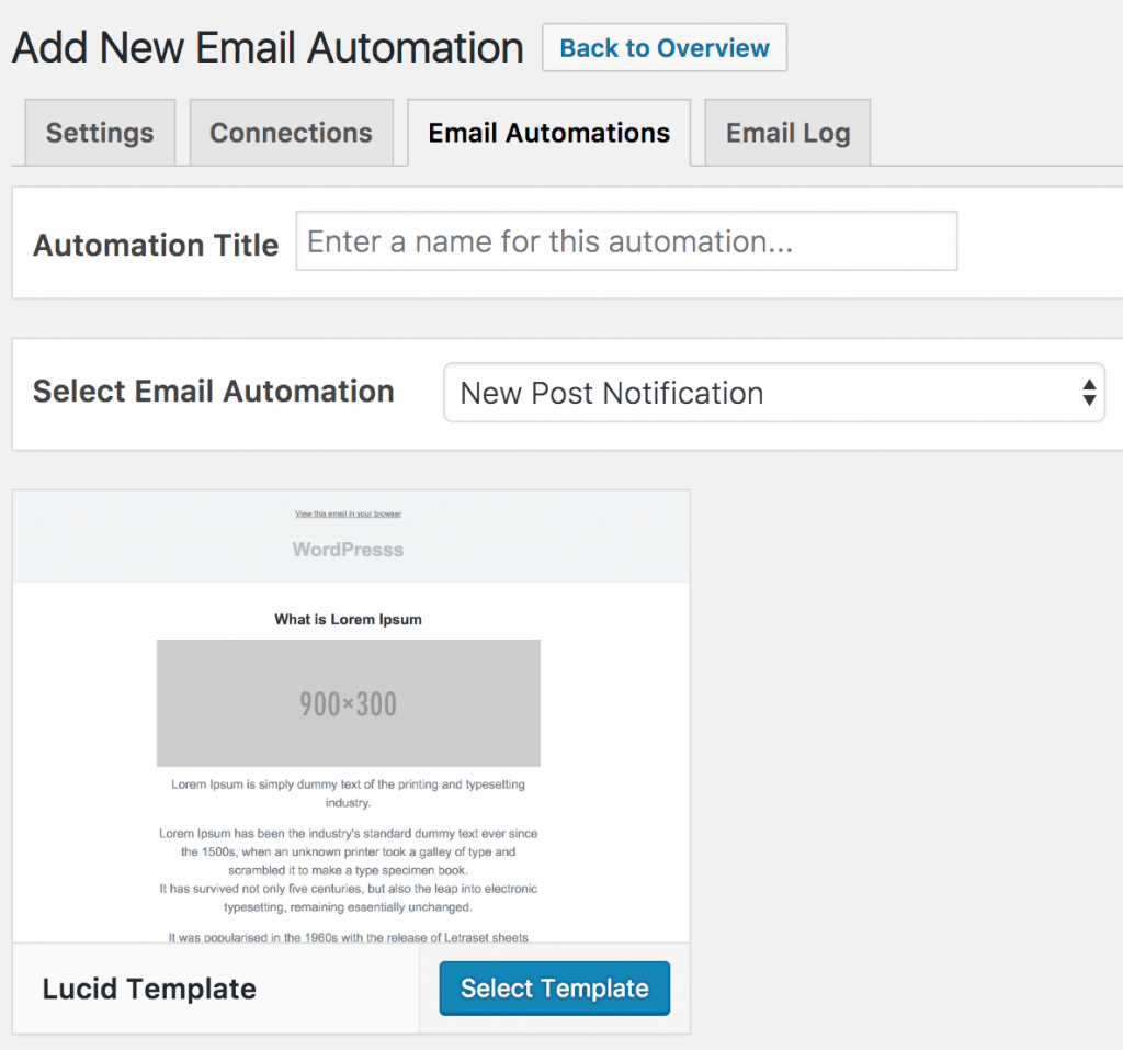 Creating new email automation