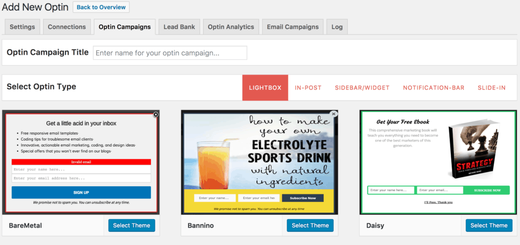 Creating new opt-in campaign