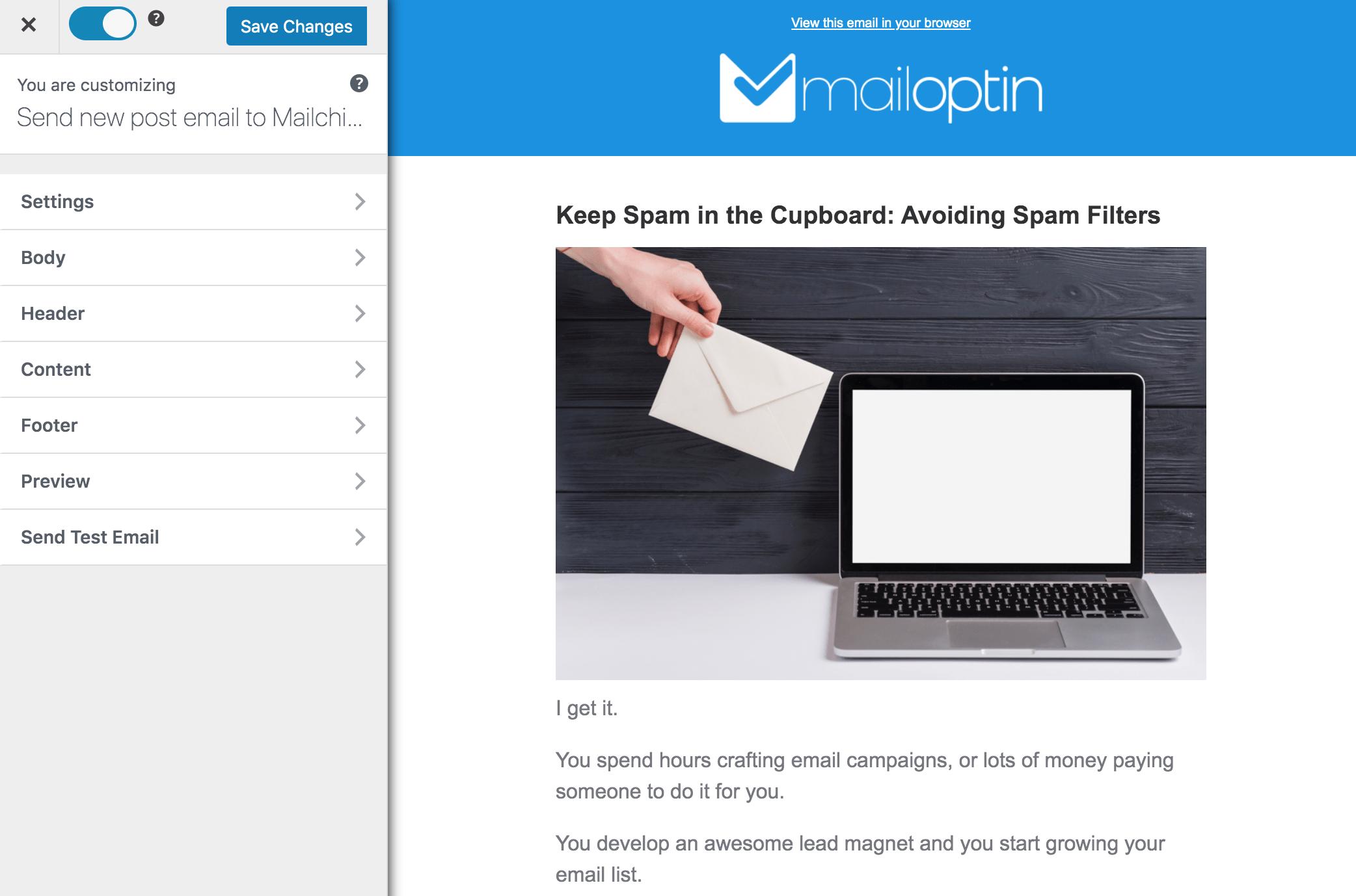 MailOptin WordPress email template builder