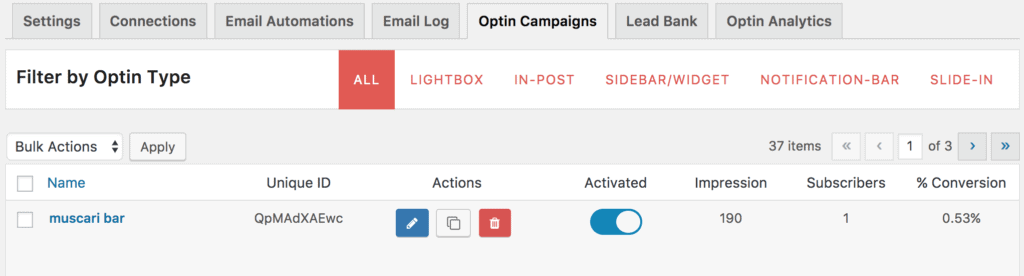 Activating opt-in campaigns via the listing page.