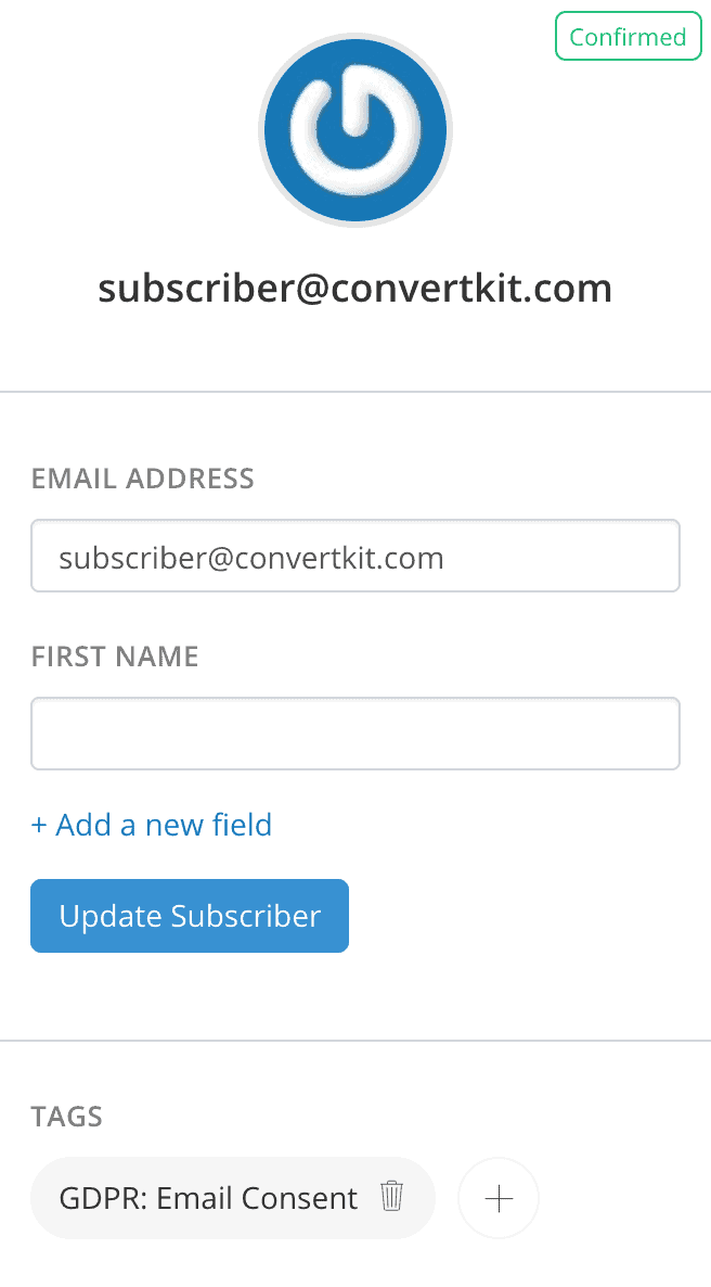 ConvertKit subscriber with GDPR / EU consent