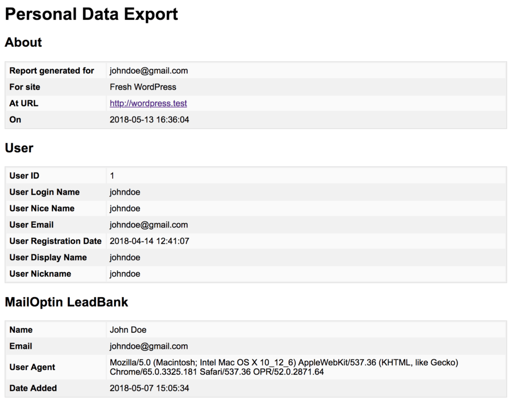 WordPress user data export