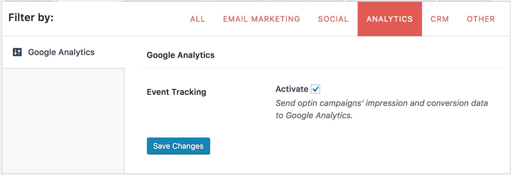 Google Analytics settings page