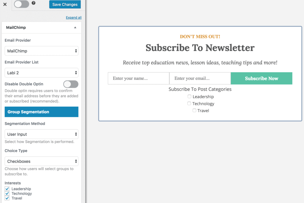 Allow subscribers select MailChimp group to subscribe to