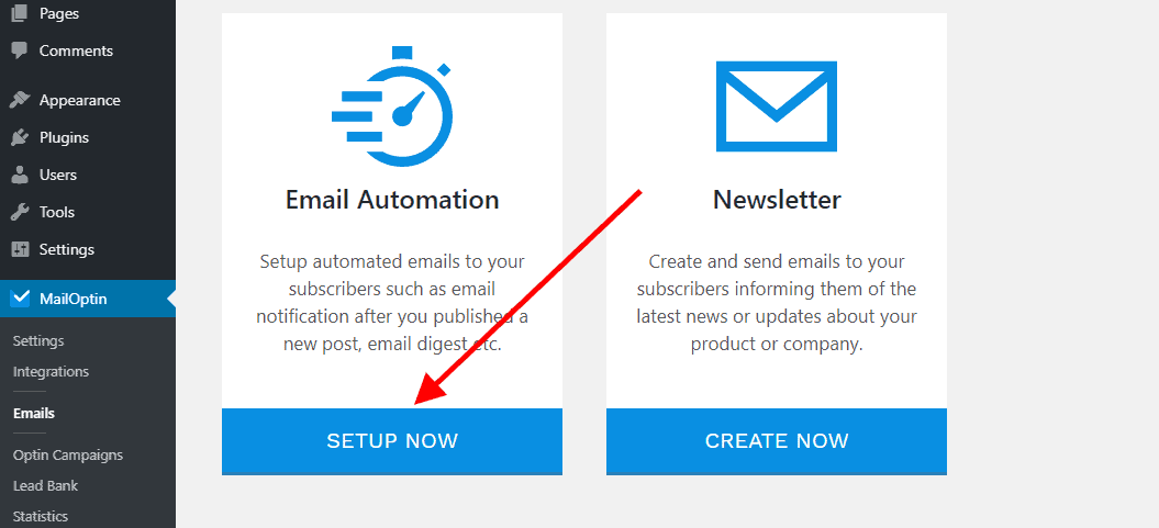 setup a new email automation