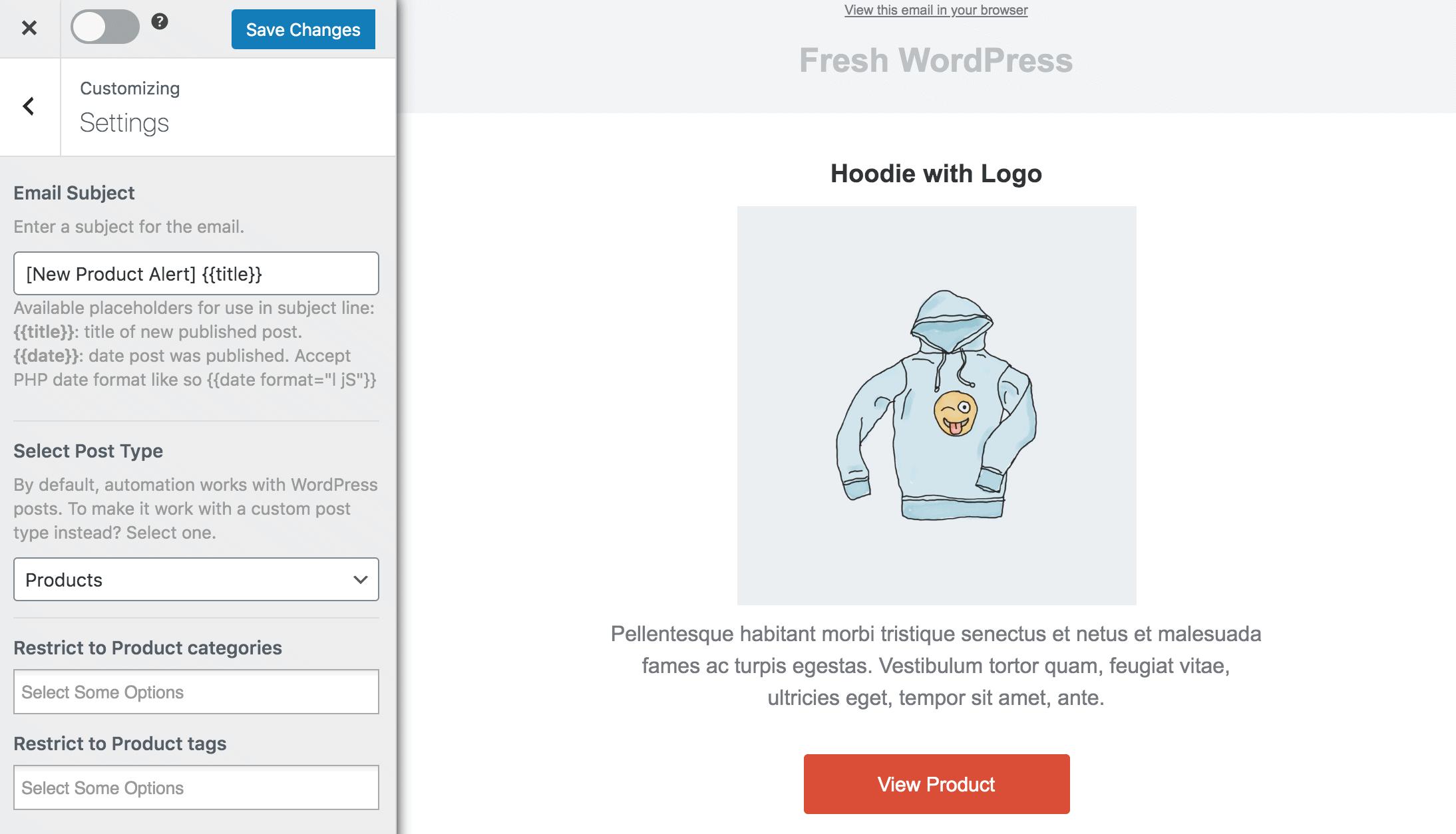 woocomerce new product email alert