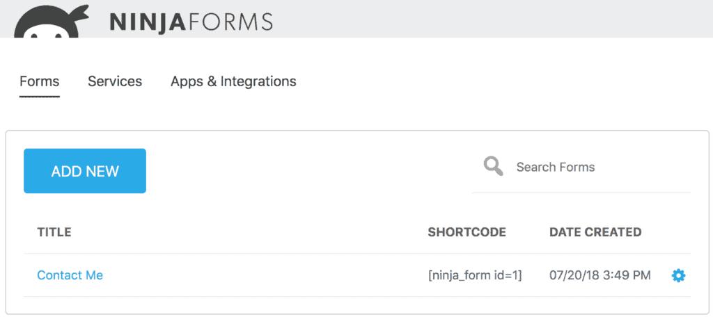 ninja forms listing