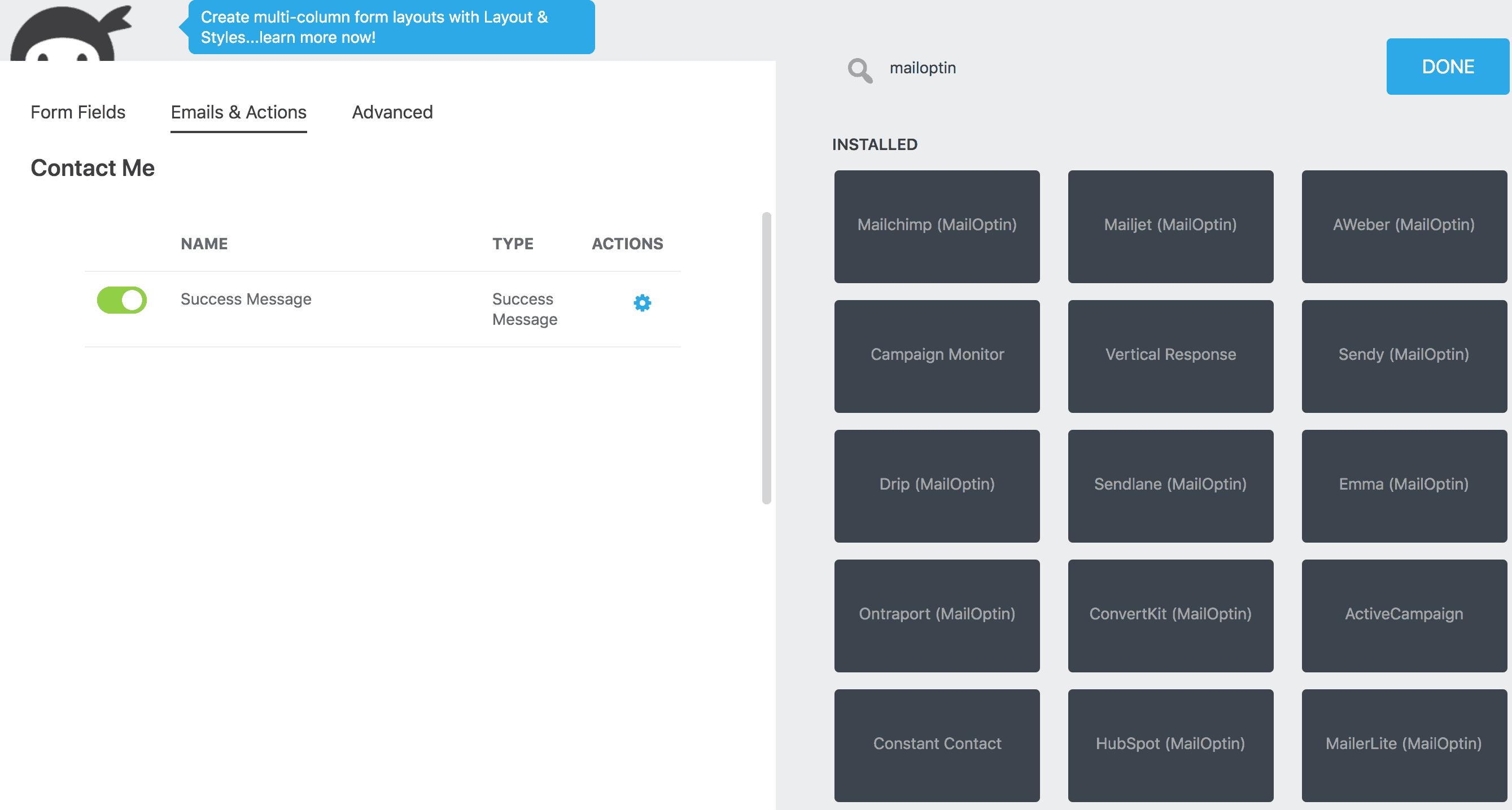 ninja forms mailoptin integrations