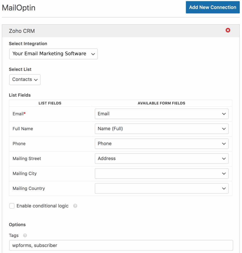 wpforms mailoptin integration