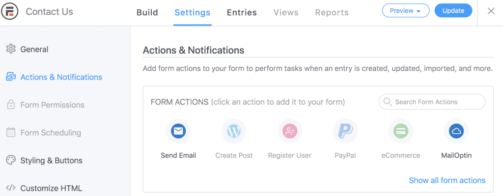 Formidable forms actions & notifications settings